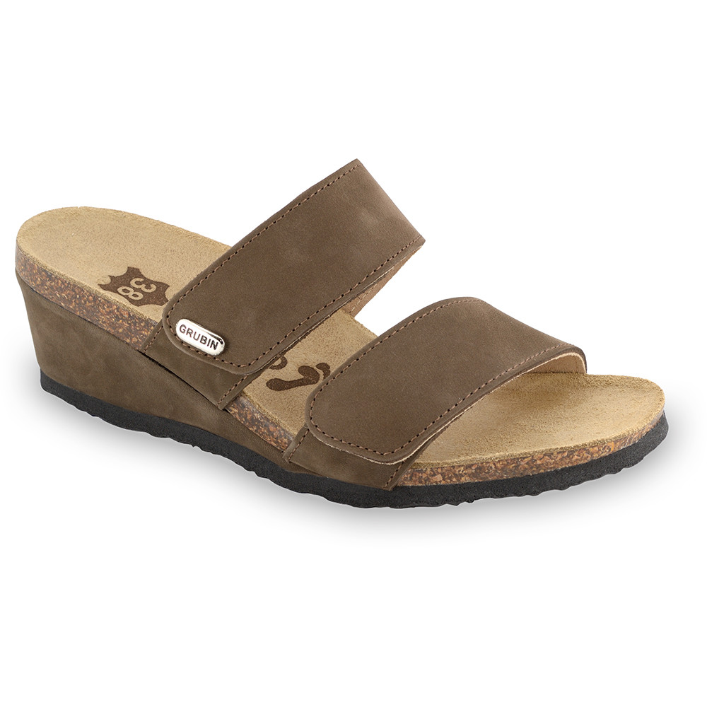 KRISTI Kožené dámske papuče (36-42) - hnedá, 39