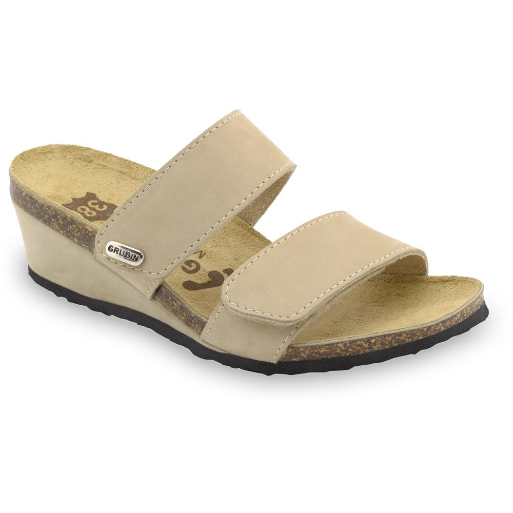 KRISTI Kožené dámske papuče (36-42) - krémová, 41