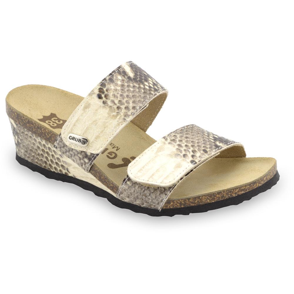 KRISTI Kožené dámske papuče (36-42) - krémová zmija, 37
