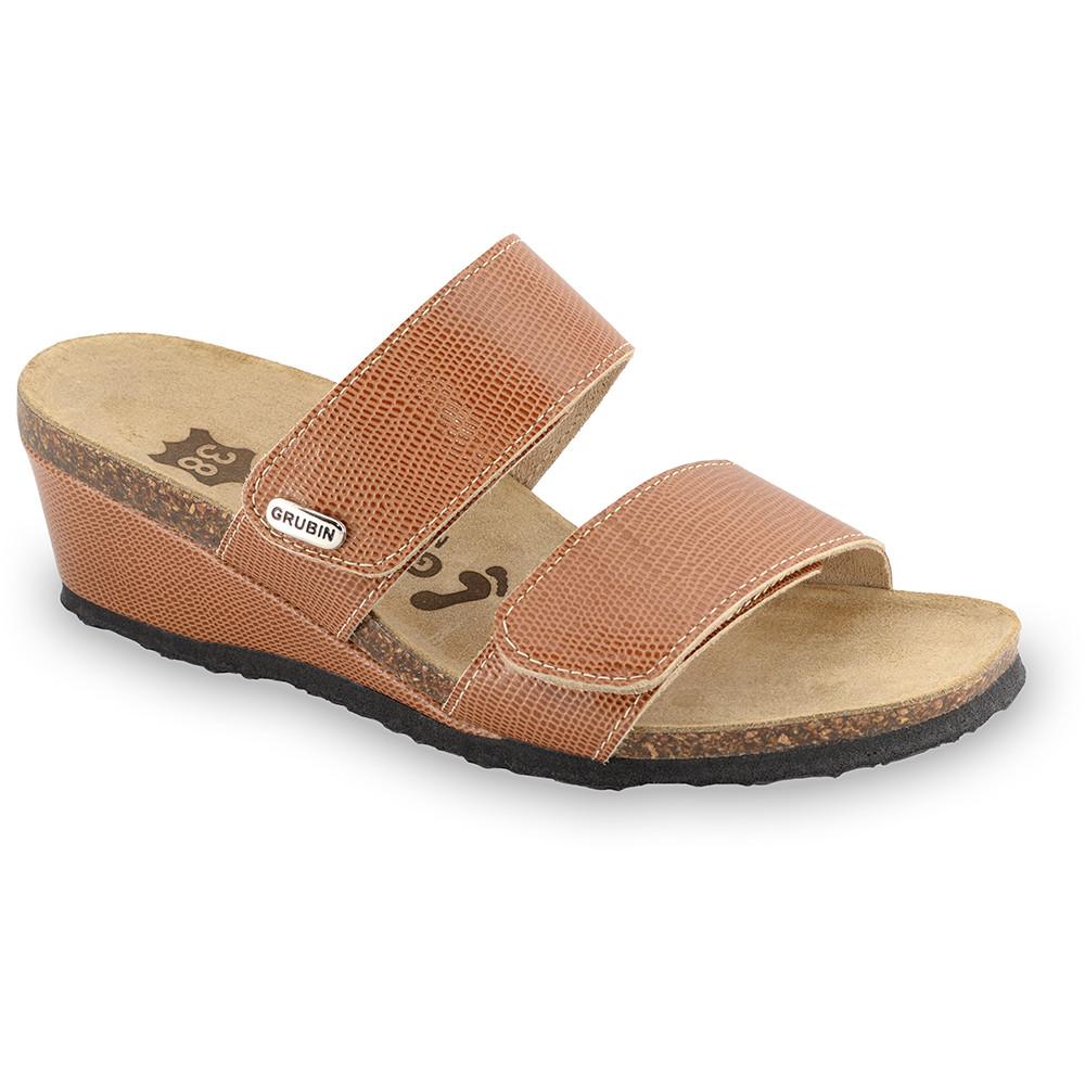 KRISTI Kožené dámske papuče (36-42) - hnedá zmija, 37