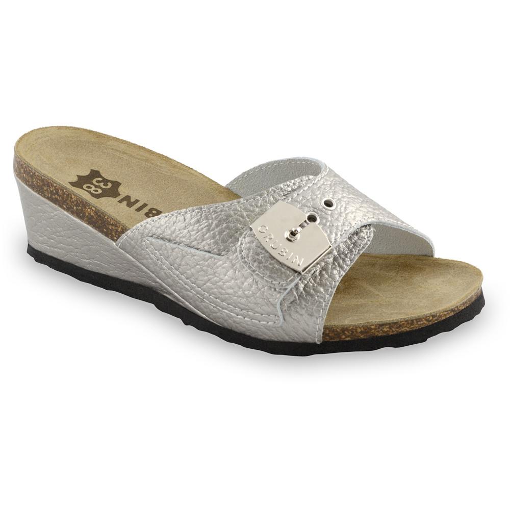 Daki Kožené dámske papuče (36-42) - strieborná, 41