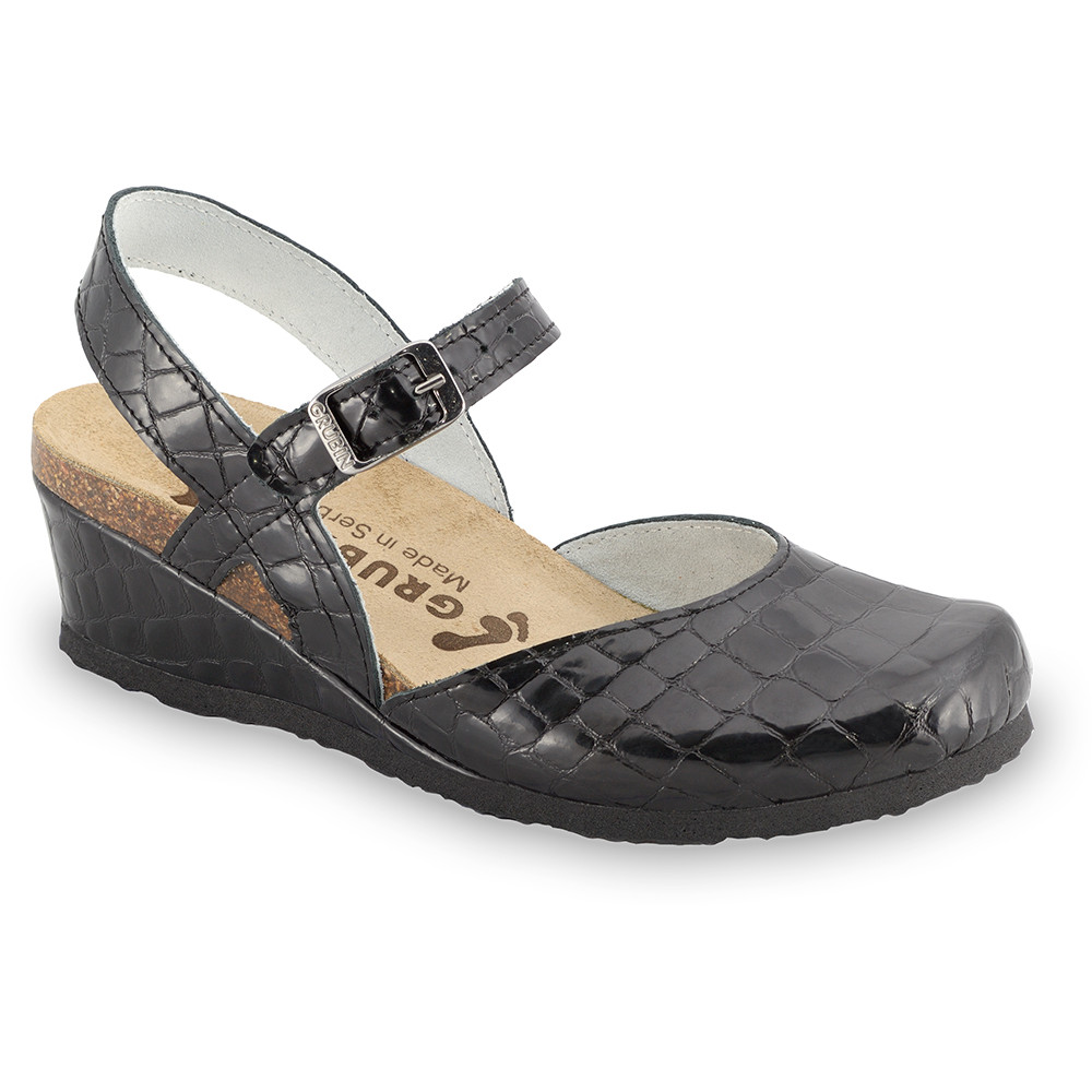 FELIKS sandále pre dámy - koža (36-42) - čierna so vzorom, 42