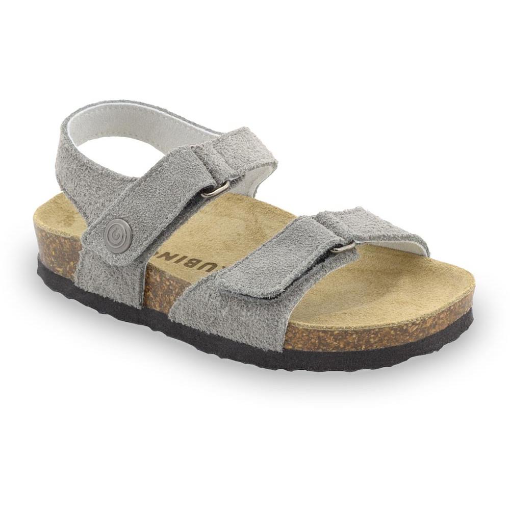 RAFAELO sandále pre deti - semišová koža (23-29) - sivá, 28