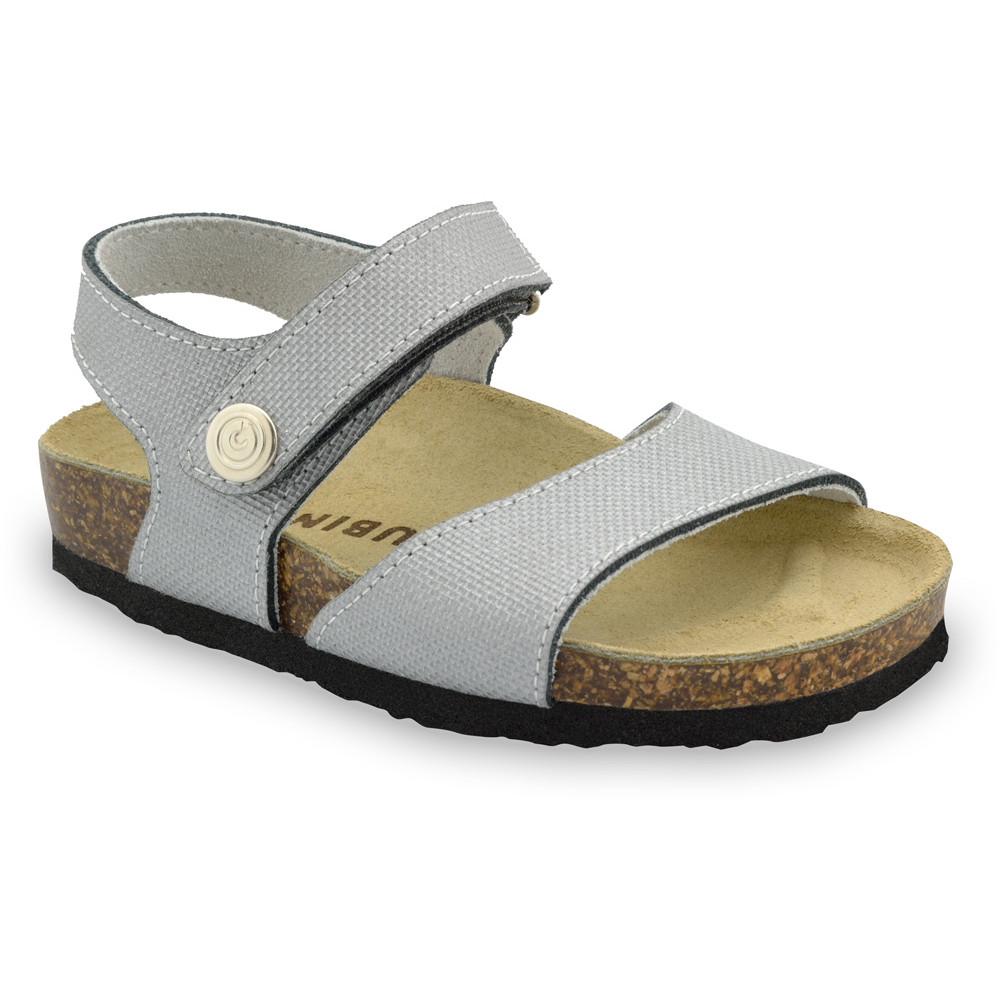 LEONARDO sandále pre deti - koža kast (30-35) - sivá, 30
