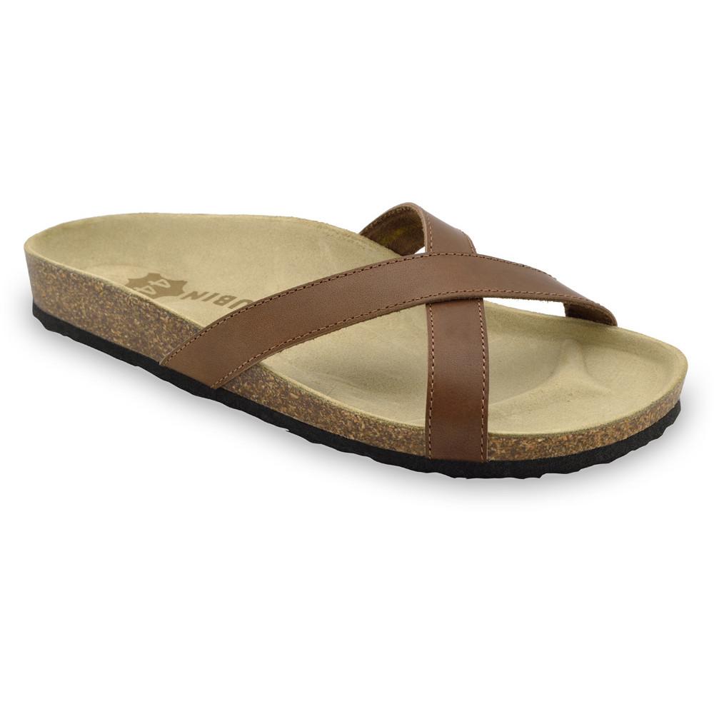 NORRIS papuče pre pánov - koža (40-49) - hnedá, 40
