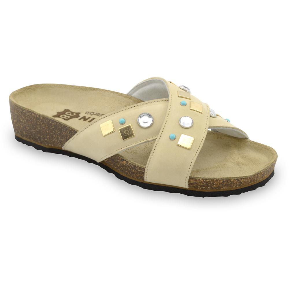ELLE papuče pre dámy - koža (36-42) - krémová, 39