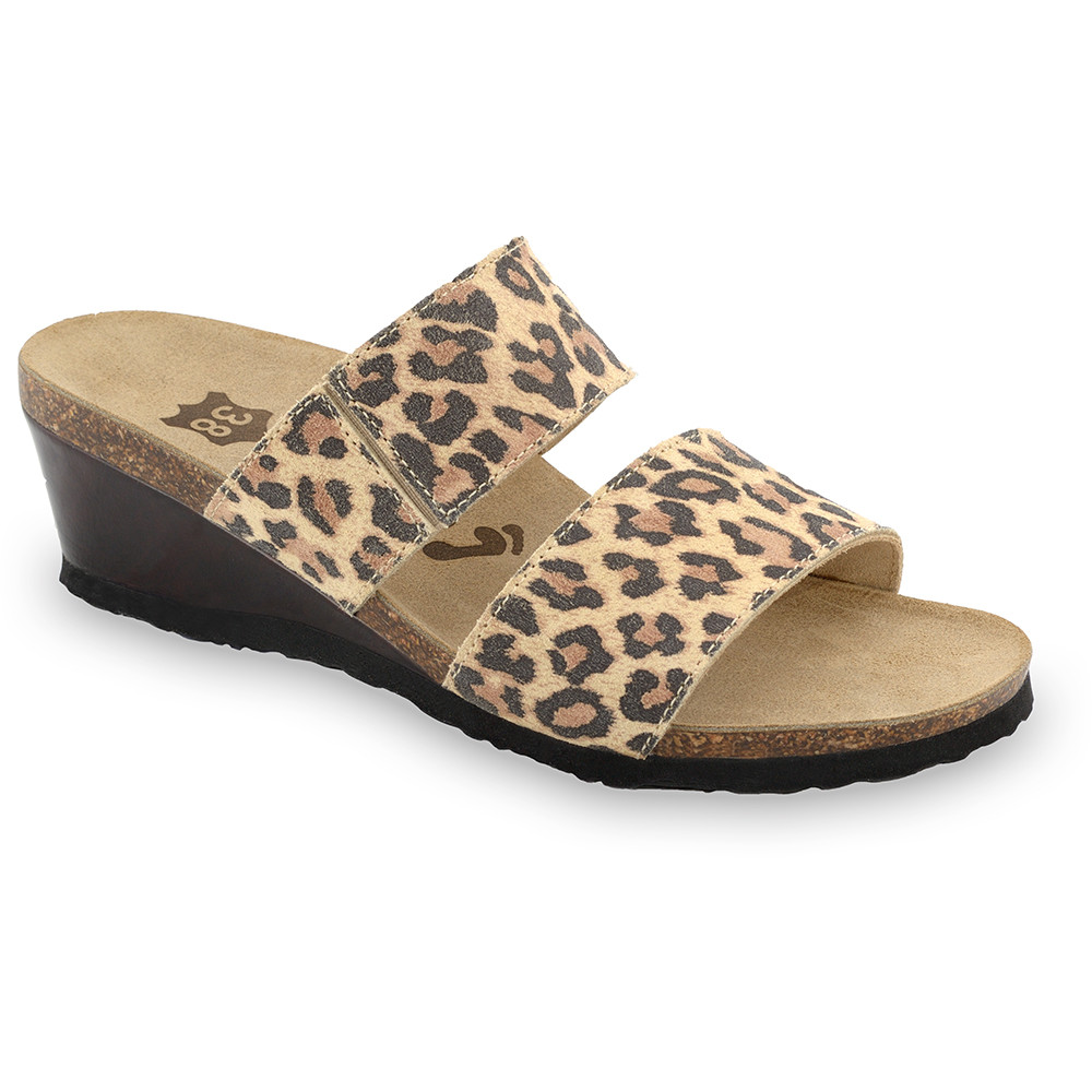 NATASHA Kožené dámske papuče (36-42) - leopard, 39