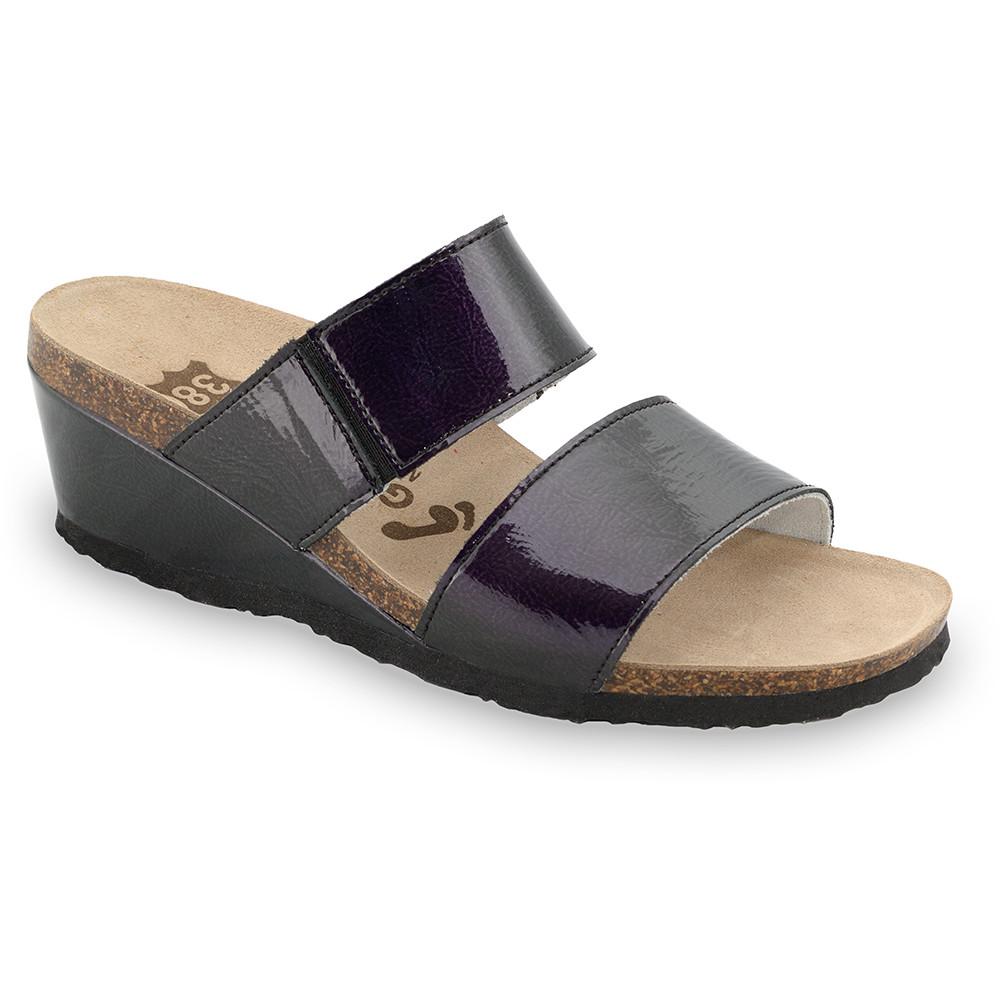 NATASHA Kožené dámske papuče (36-42) - čierna, 41